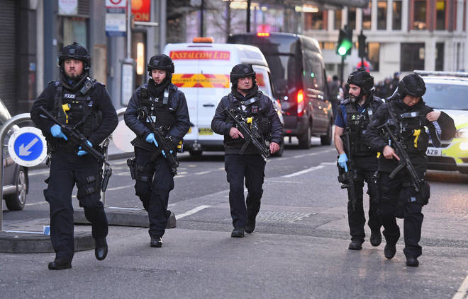 Armed police on the streets of London
