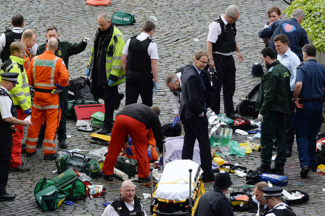 Tobias Ellwood after trying to save the life of PC Keith Palmer who died in the 2017 Westminster terror attack