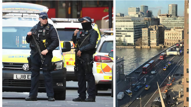 Police officers on London Bridge and the view of the incident from an office building