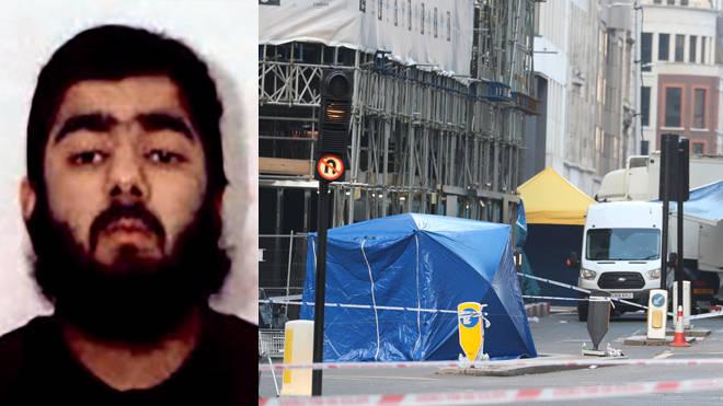 Terror attacker Usman Khan, and the scene today at London Bridge