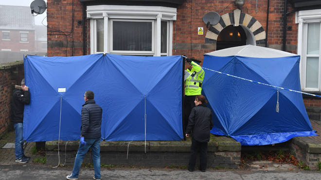 Police searching a property in Stafford today