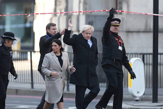 Metropolitan Police Commissioner, Cressida Dick, Home Secretary Priti Patel and Prime Minister Boris Johnson attend London Bridge in central London