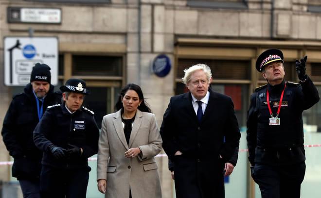 Met Police Commissioner Cressida Dick with Home Secretary Priti Patel and PM Boris Johnson