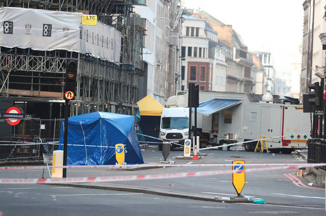 Police at the scene on London Bridge earlier today.