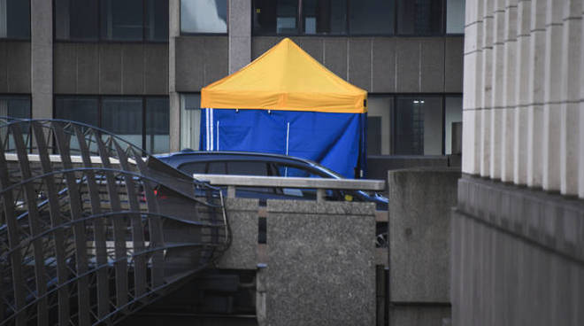 A police tent at the scene today where the attacker was shot dead.