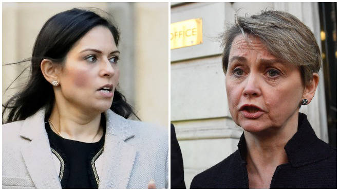 Priti Patel blamed a previous Labour government after Yvette Cooper blamed the current administration