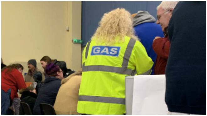 Scottish Gas Network employees are giving out heaters in Falkirk