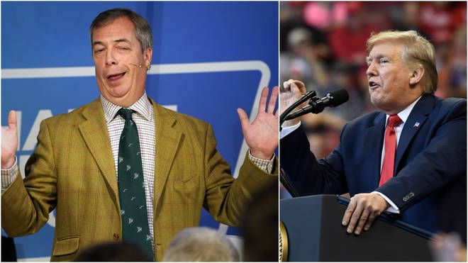 Mr Farage says it's wrong for politicians to put their hatred of Trump above the national interest