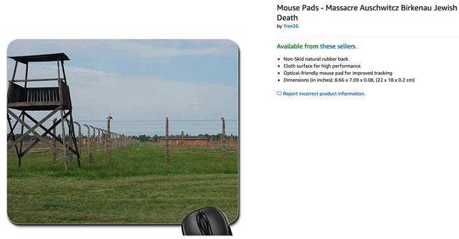 The mouse pad displaying another Auschwitz related image was still on sale