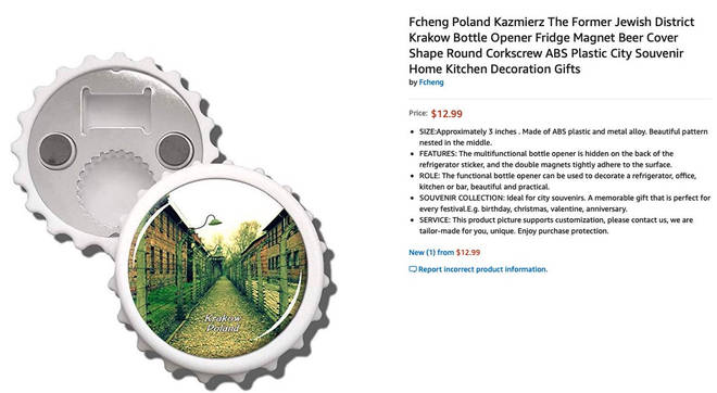 Suppliers were selling Auschwitz-themed Christmas decorations on Amazon.