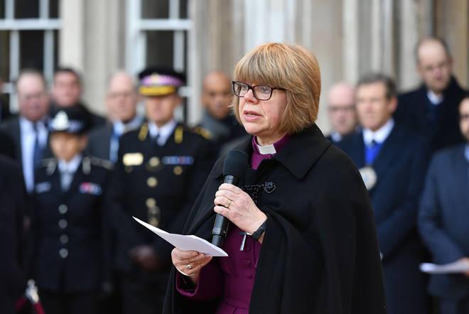 Bishop of London Sarah Mullally speaking at a vigil in Guildhall Yard, London