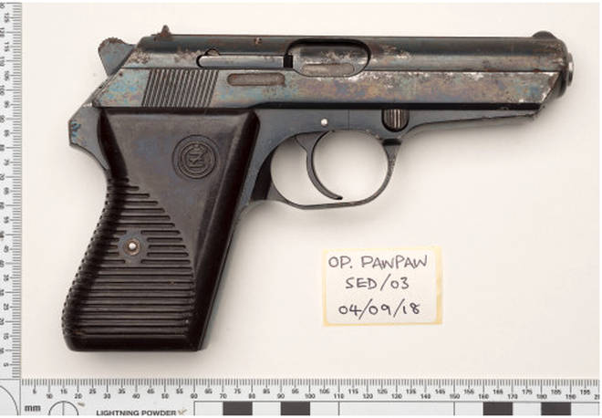 The firearm used in the murder
