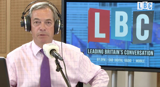 Nigel Farage was broadcasting from the EU Parliament in Brussels