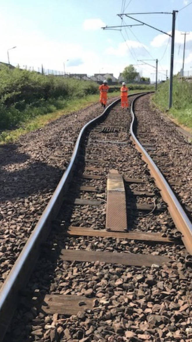 Train lines buckled in the heat near Glasgow