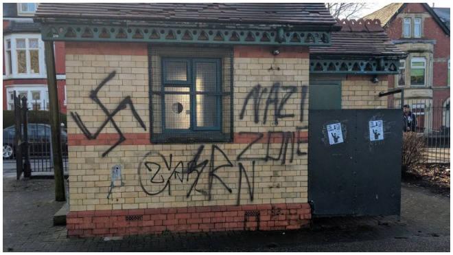 Nazi graffiti was sprayed on building across Cardiff