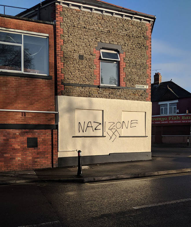 The racist graffiti was spread across different buildings in Cardiff