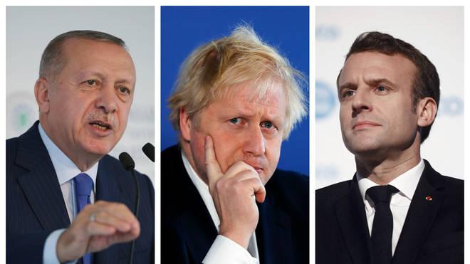 Turkish President Recep Tayyip Erdogan (left), Boris Johnson and French President Emmanuel Macron