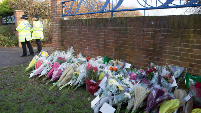 Floral tributes left outside Debden Park High School