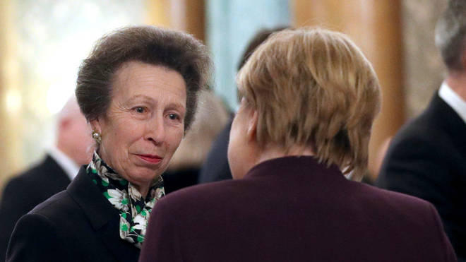 Princess Anne also chatted to German leader Angela Merkel during the event