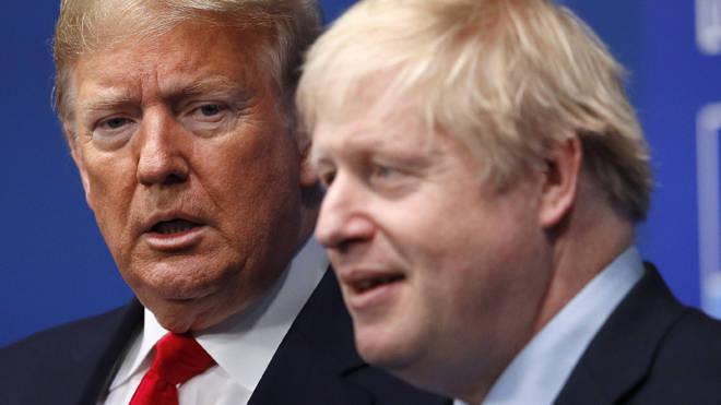 Donald Trump and Boris Johnson at the Nato summit today