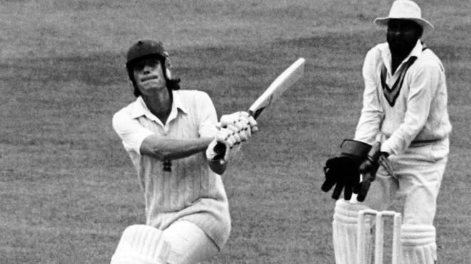 England batsman and team captain Bob Willis in action batting