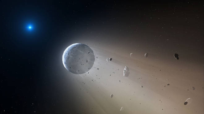 An artist's impression of a white star being disintegrated by a white dwarf