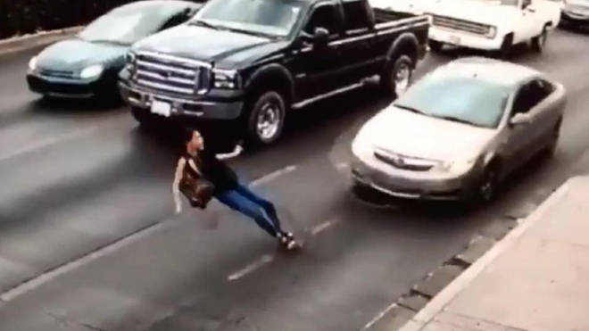 The shocking incident was caught on CCTV in Mexico