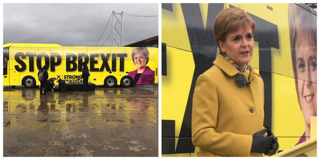 The bright yellow bus holds a clear message