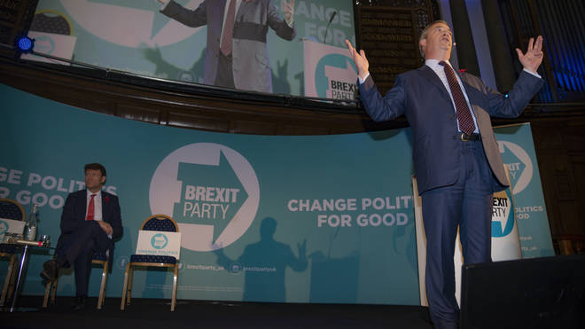 Leader Nigel Farage and chairman Richard Tice at the Brexit Party's campaign launch