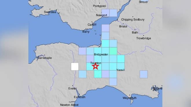 A US Geological Survey map shows the epicentre of the quake and reports from residents who felt it