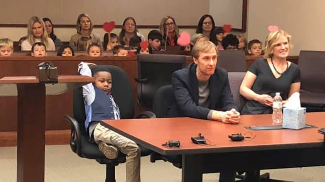 Young Michael invited his whole class to court to watch his adoption