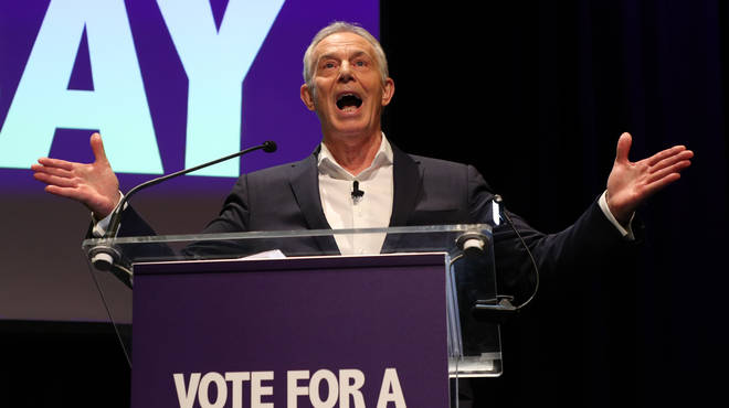 Tony Blair speaking at the rally