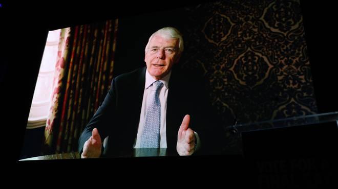 Sir John Major appeared via videolink
