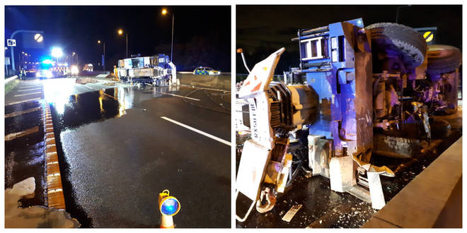 The crane crashed over both sides of the carriageway