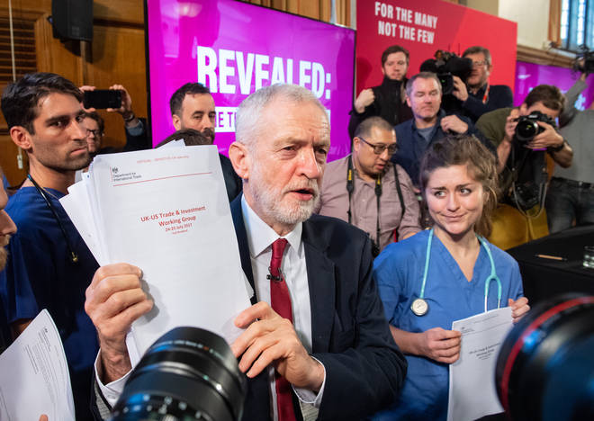 Jeremy Corbyn holds what he claims is a document proving the Tories want to sell off the NHS