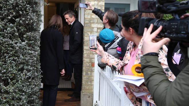 The actor went door to door with Lib Dem candidate Monica Harding