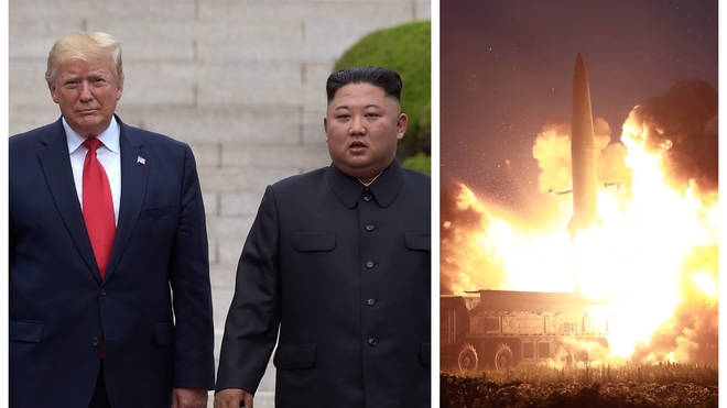 President Donald Trump and Kim Jong Un met in June / an earlier missile test