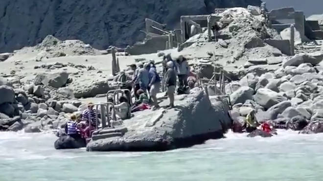 People awaiting rescue on the island