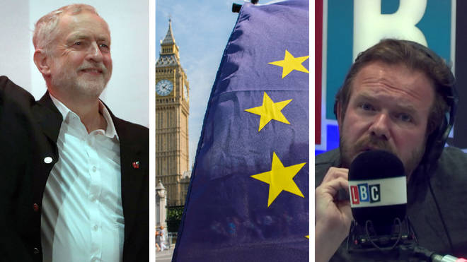Jeremy Corbyn, EU flag, James O'Brien