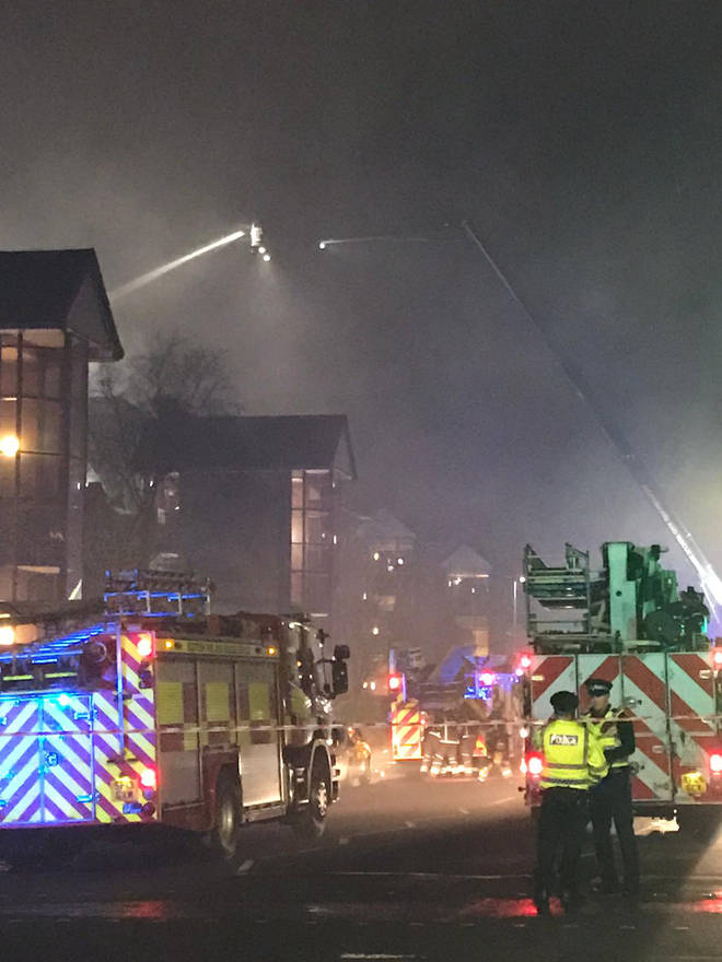 The scene of the fire in Glasgow this evening