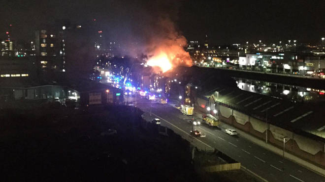 Emergency crews respond to the fire in Glasgow