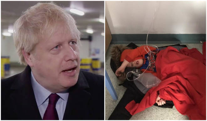 Boris Johnson was shown the photo of the ill boy by a reporter