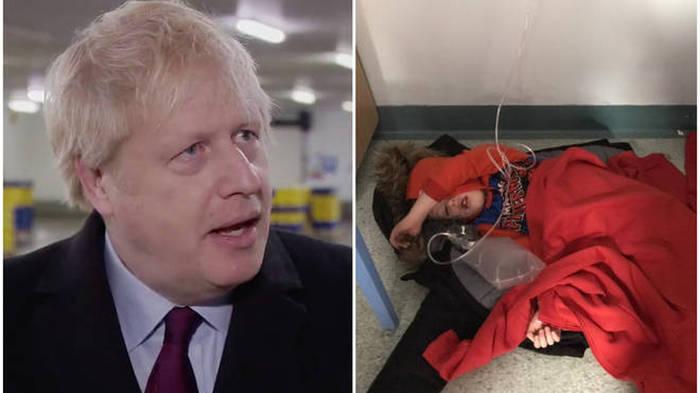 Boris Johnson takes reporter's phone when shown photo of ill boy, 4, on hospital floor