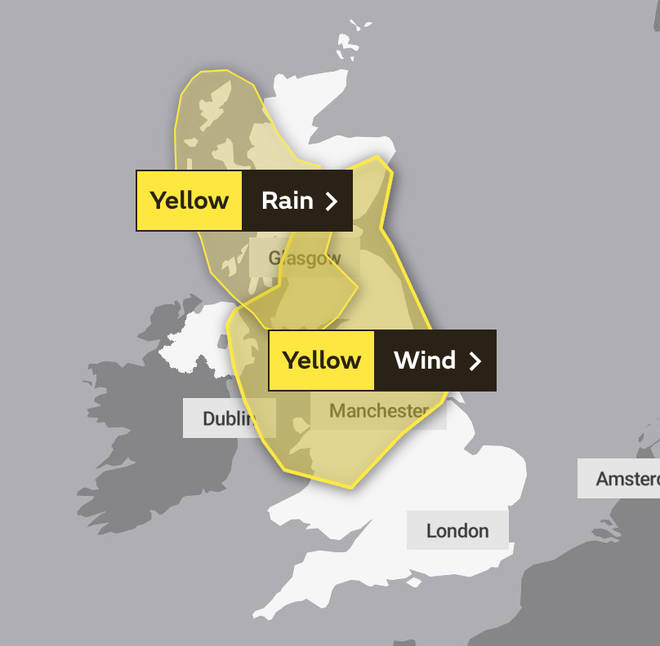 The areas covered by the weather warning