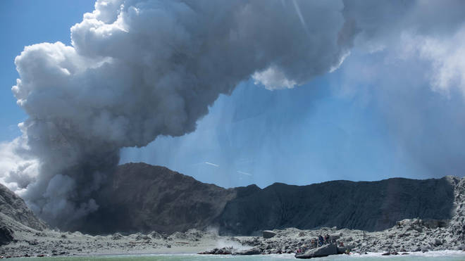 The volcano erupted on Monday
