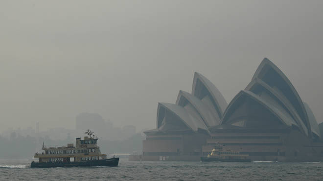 Sydney's iconic landmarks were clouded by smoke