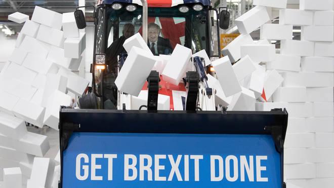 Boris Johnson drove the JCB through a 'Gridlock' wall