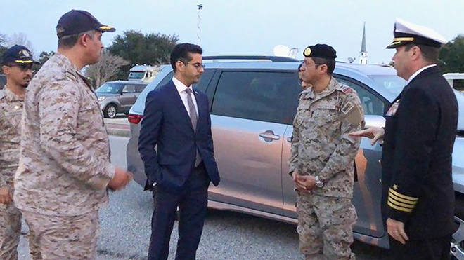 Saudi Arabia Defense Attaché Major General Fawaz Al Fawaz (second from right) meets with Saudi students at the NAS Pensacola base in Pensacola, Fla.