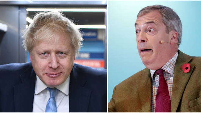 """Mr Farage fears a """"sell-out Brexit"""" under a Boris Johnson government"""