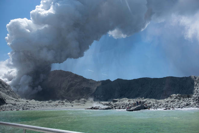 The volcano eruption on White Island, New Zealand.